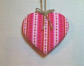 Large Pink / Red Heart Ornament |  Bridal/Wedding Party Favor | Handmade |  Valentines Day | Tree Ornament | Spring Decor |  #3
