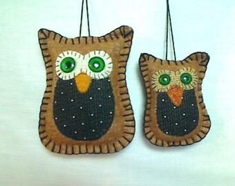 Small & X-Small Brown Owl Ornaments   Holidays   Tree Ornaments   Fall Decor   Felt Owls   Folk Art   Thanksgiving   Handmade   Set/2    #1