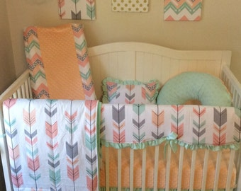 peach gray and mint arrows crib bedding bumperless set made to. Black Bedroom Furniture Sets. Home Design Ideas