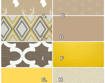 Crib Bedding Set Stag Yellow Taupe Linen Gender Neutral