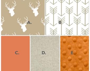 Baby Bedding Crib Set in Tan and Orange Stag and Deer Deposit