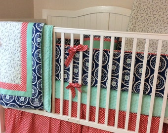 Coral Navy and Mint READY TO SHIP Baby Girl Crib Bedding Set