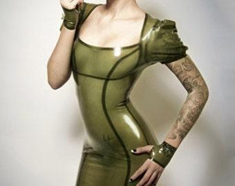 Lady Lucie Latex Puff Sleeve Pencil Dress