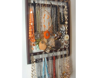 Jewelry Holder, Hangs 30-120 Necklaces, Jewelry Organizer, Dark Mahogany Stain, Oak Hardwood, Display Rack, Wall Mount, Necklace Organizer