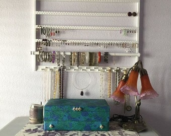 "Jewelry Holder,  28"" W x 20"" L, Earring Organizer, ""You Choose The Stain"", White, Solid Oakwood, Earring Holder, Necklace, Bangle, Wall"