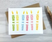 Birthday Card, Happy Birthday Greeting Card, Birthday Candles, Make A Wish, Celebration Card - Single