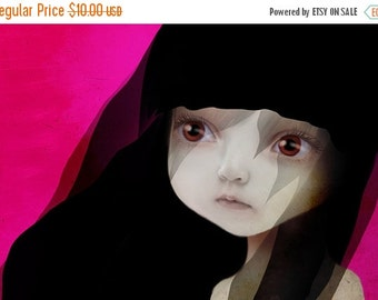 "SUMMER SALES EVENT 5x7 Fine Art Print - ""Lisbeth"" - Little Sad eyed girl - Lowbrow Art by Jessica Grundy"