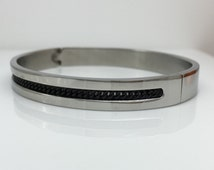 Mens stainless steel bracelet, inset black chain stainless steel bracelet, mens bangle, unique bracelet for men,  gifts for him, 660C black