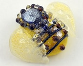 Lampwork Glass Bead, Focal Bead, Handmade Glass Bead, Bumble Bee with Dichroic Glass from Izzybeads SRA UK