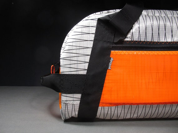 Mens Sailcloth Duffel Bag:The Airstream - White Xply and Neon Orange - Vegan - LAST ONE