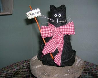PRIMITIVE / FOLKART  CAT  Doll, Black, Shelf Sitter, Bow, Primitive Decor, Handmade Cat Doll
