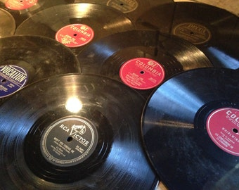 10 Old Hard Plastic Long-Play Records for Repurposing