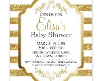 Gold Baby Shower Invitation, Gold Stripes Baby Shower Invite, CUSTOM 4x6 or 5x7 size, YOU Print
