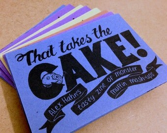 That Takes The Cake! -Alex Hahn's tasty zine of muffin mash-ups (Handmade A6 Folded booklet / poster)