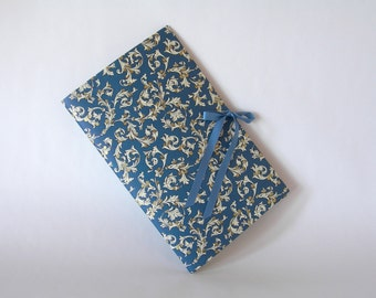 Blank book journal chapbook-navy blue Florentine print-(6x9in.)-Ready to ship