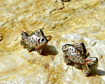 fine silver fish post earrings