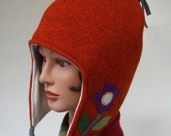 Fleece Hat, Women Winter Hat, Chullo Hat, Fun Winter Fleece Hat, Warm Fleece Cap, Appliqué, Unique Hat, Medium, Chemo Headwear, Soft Fun Hat