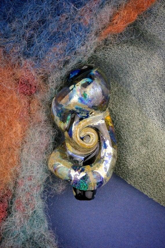"""SRA Handmade Lampwork Beads """"Evolution"""" Dichroic Focal Bead Organic ~ Artisan Glass Flamework Art Beads"""