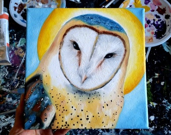 Original oil painting of a barn owl, 20 X 20 cm ( 8 X 8 inches)