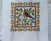Prairie Schooler 'A Partridge in a Pear Tree' Completed Cross Stitch