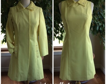 Vintage late 60's dress with coat original beading