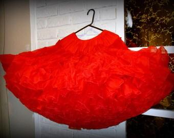Vintage Red Petticoat Rockabilly Slip Skirt Full Crinoline Kroening's