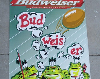 Budweiser Beer Frogs Vinyl Advertising Football Banner Wall Hanging Sign Poster