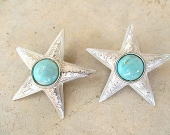 Vintage Les Bernard Silver Turquoise Metal Western Stars Pierced Earrings Southwestern Cowgirl Chic