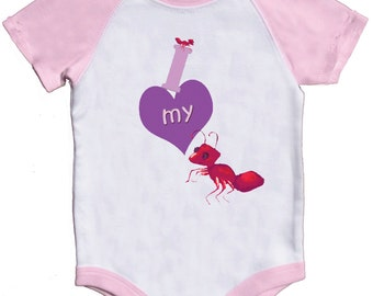Girl Bodysuit I Love my Aunt Romper Pink Creeper by Mumsy Goose Baby One Piece