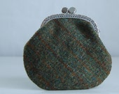 Green Plaid Tweed Coin Purse Change Pouch with Metal Kiss Clasp Lock Frame - READY TO SHIP