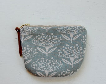 Flowers on Cloud Padded Round Zipper Pouch / Coin Purse / Gadget / Cosmetic Bag - READY TO SHIP