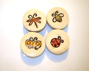Kitchen Magnets – Bug Drawings – home décor – ceramic insects – refrigerator art – children design – clay dragonfly – gift for the bug lover