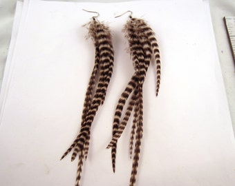 Feather Earrings Natural Grizzly long thick