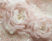 Bridal hair flowers, pair of wedding hair clips in blush dusty pink and ivory lace, bridal rhinestones and pearls, bride and bridesmaids