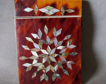 c1880s Victorian Calling Card Case with Abalone Shell Inlay