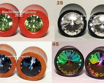 "Custom Wood Plugs, Swarovski Crystal Inlay / Organic Wooden Jewelry (0g through 3"" +) (8mm through 76mm +) Examples of Custom Work"