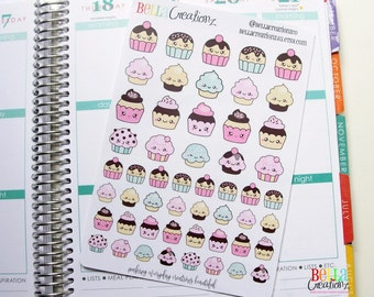 Cute Kawaii Cupcake Stickers - Planner Stickers