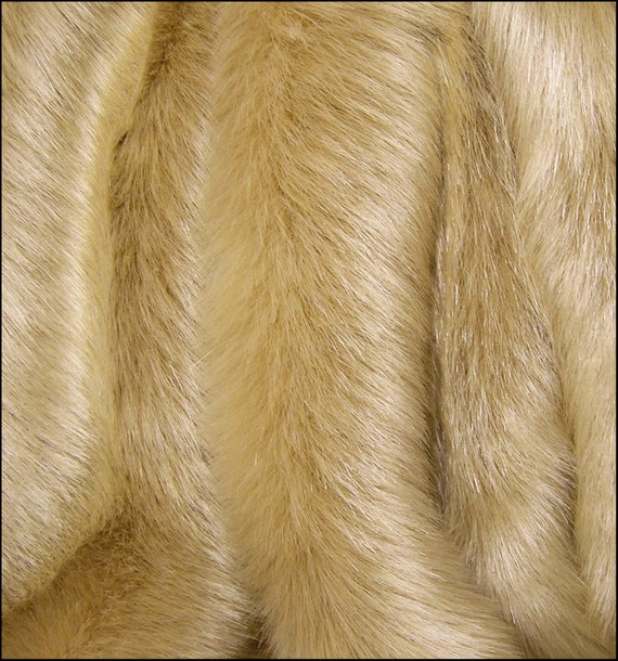 FUR SAMPLE: FAWN Gold Golden Solid Mink Faux Fur Luxury