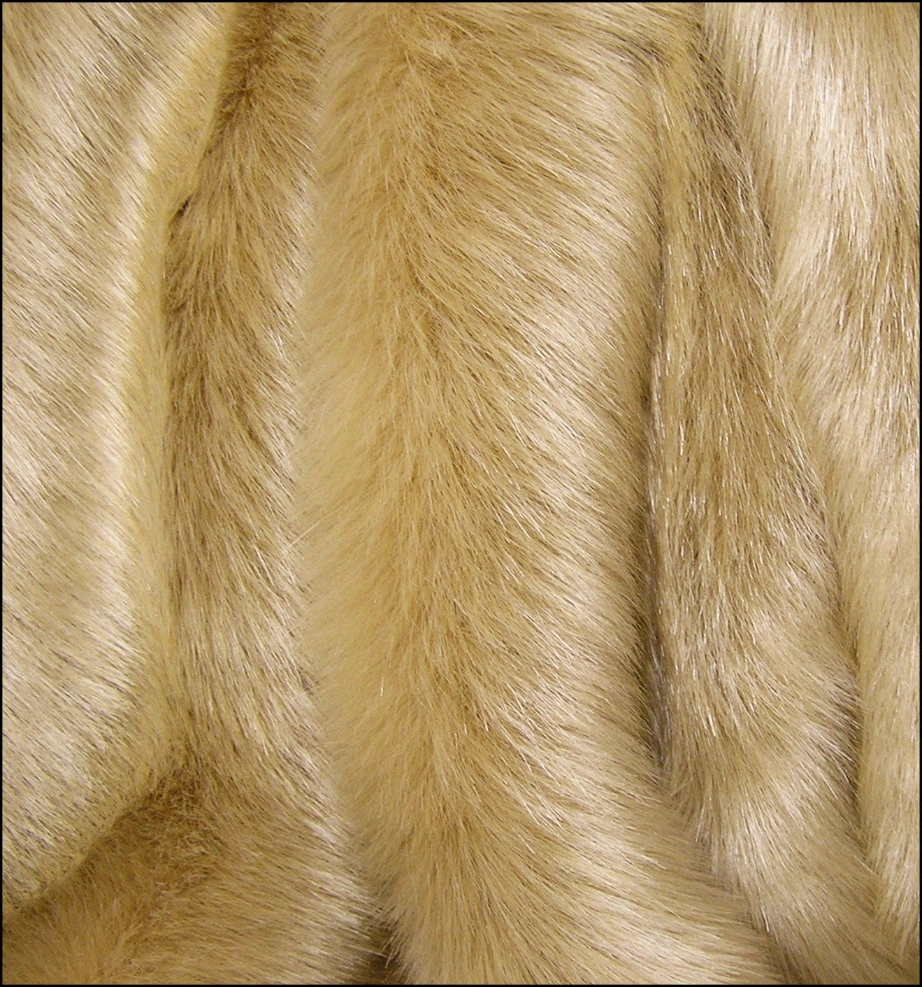 FUR SAMPLE: FAWN Gold Golden Solid Mink Faux Fur Luxury Fur
