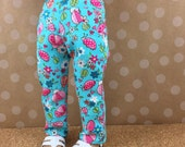 """Fits AG and 18"""" Doll Twill Skinny Jeans Ladybug Print Twill Pants Made for American Girl Turquoise Pink Green 4 Pockets"""