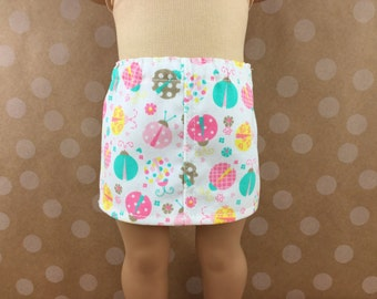 Fits American Girl 18 Inch Dolls Twill Straight Mini Skirt Pink Yellow and Turquoise Ladybugs and Flowers Girls Toy