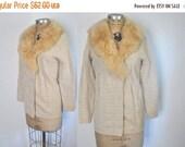 SALE Fur Collar Sweater / cream sheep shearling / S-M