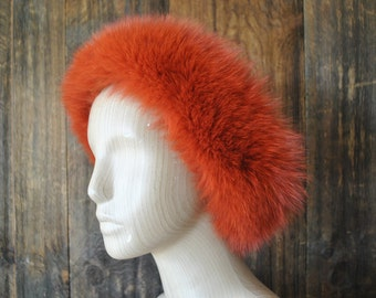 ORANGE Fox Fur Hat / earmuffs headband / ear warmer / genuine