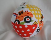 Cloth Jingle Ball Baby Toy with Dig It Construction Truck fabric