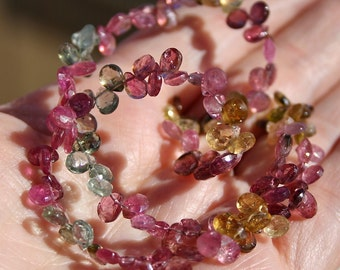 Pink Green Amber Gem Watermelon  Tourmaline Faceted Pear Briolette Drop Beads 3.5 inch strand