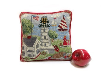 Small Needlepoint Pillow Handmade Lighthouse Scene Red Velveteen Backing 1970s 80s Home Decor