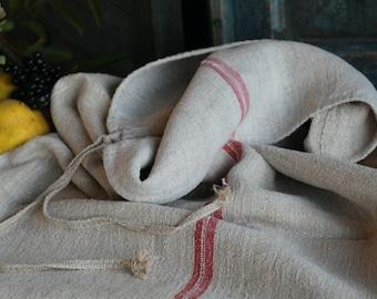 Nr. A359: grainsack,  antique linen; FADED RED pillow benchcushion; 43.31 long;  wedding decoration; christmas, thanksgiving