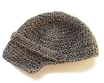 Ready To Ship - Crochet Brown Tweed Newsboy Baby Cap - Crochet Baby Boy Newsboy Hat - Size 6 to 12 Months