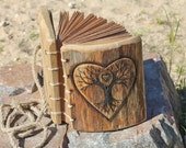 Wedding Guest Book rustic wood journal with heart and tree of life wooden guestbook bridal shower engagement anniversary
