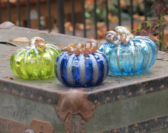 Glass Pumpkin Triple Play, Set of Three Blown Glass Gourds, One Each Dark Blue, Lime Green, Aqua with Metallic Gold Stem and Ribs